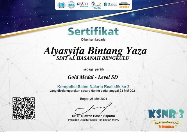 SDIT Al Hasanah 1 Bengkulu Raih Medali Emas KSNR 3 Se-Indonesia